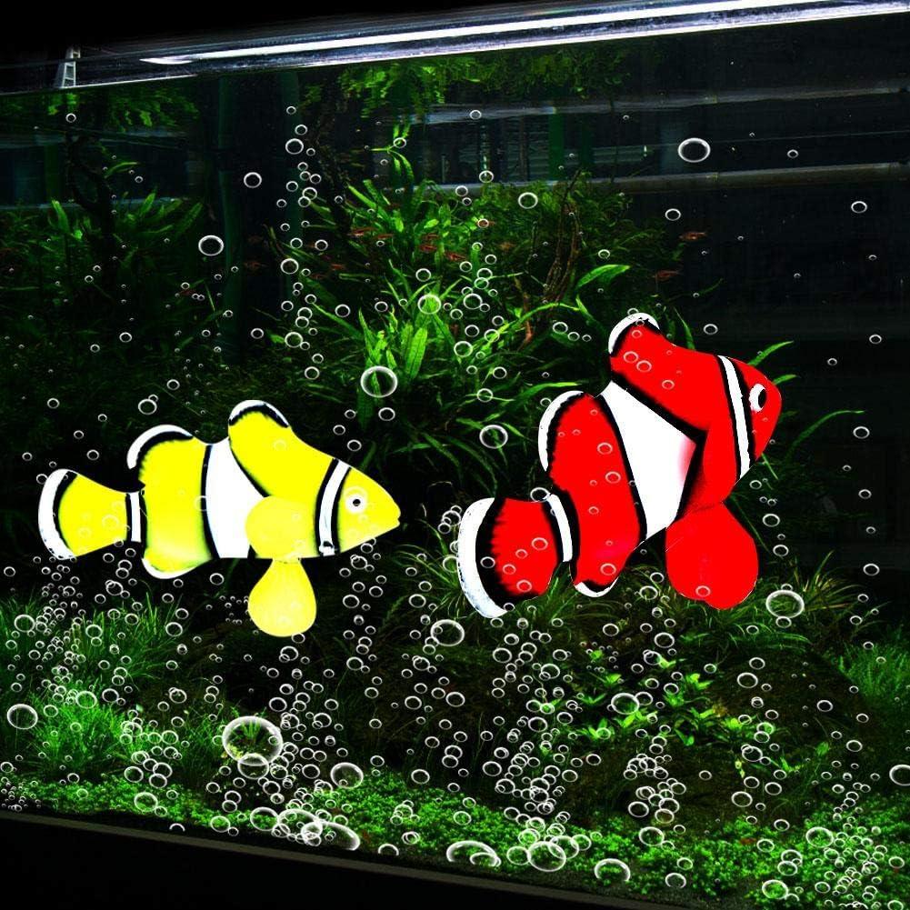 Pssopp 4pcs Aquarium Silicone Clownfish Luminous Fish Tank Floating Fake Tropical Fish Funny Artificial Swimming Fish Lifelike Moving Fishes Ornament Underwater Landscape Decor