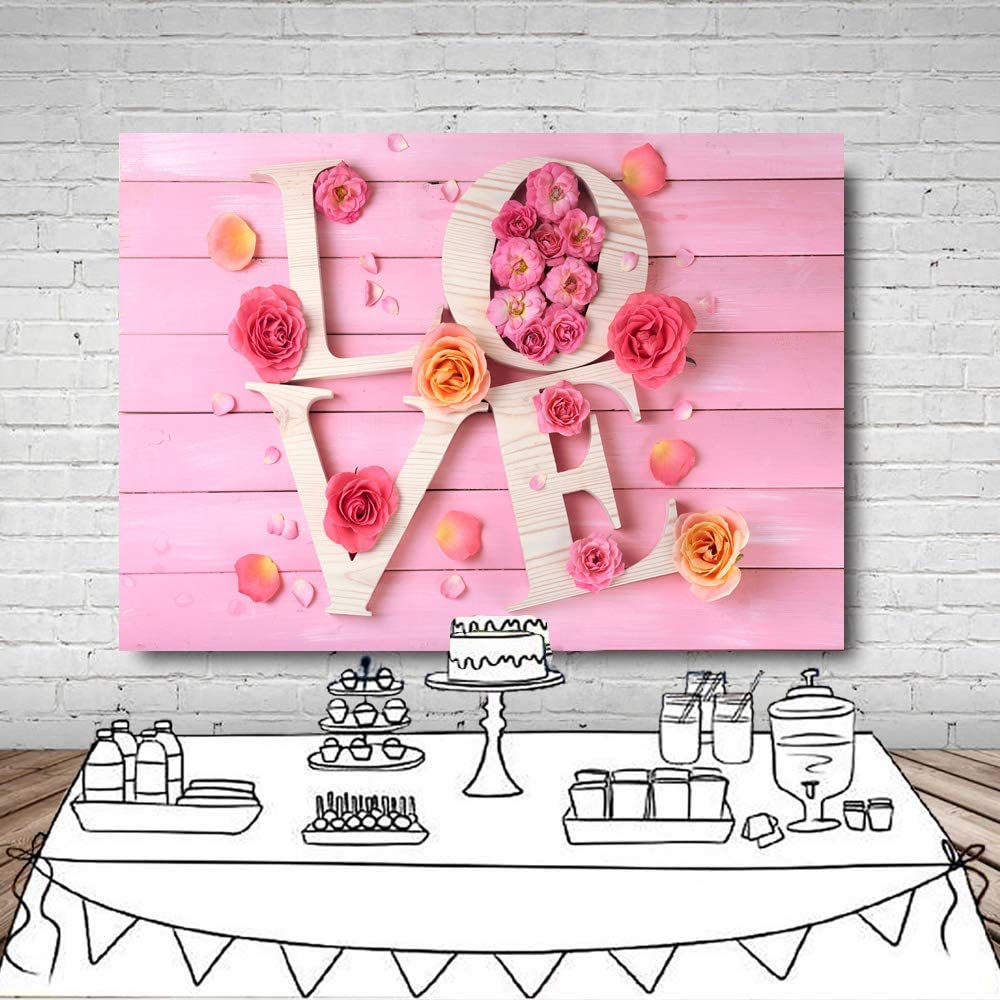 LYWYGG 7x5FT Valentines Day Backdrops Pink Wood Wall Photography Background Love Photo Background Babys Birthday Studio Backdrop CP-119