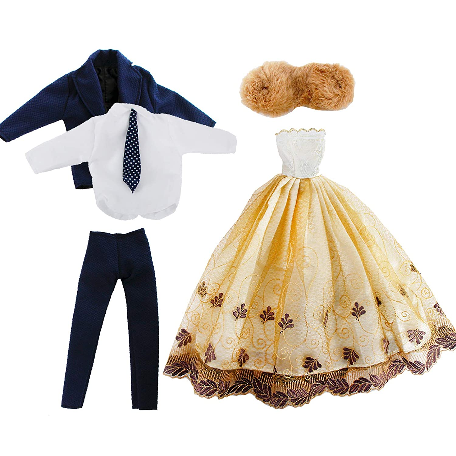 57453f860c0 Package including  1x groom outfit + 1x dress + 1x artificial fur waistcoat