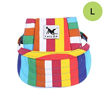 b8a3f39e01a CALIFORNIA CADE ELECTRONIC Cade Pet Baseball Cap Dogs Sport Hat Visor Cap  with Ear Holes for Small Dogs (Colorful Stripe-L)  Amazon.ca  Pet Supplies