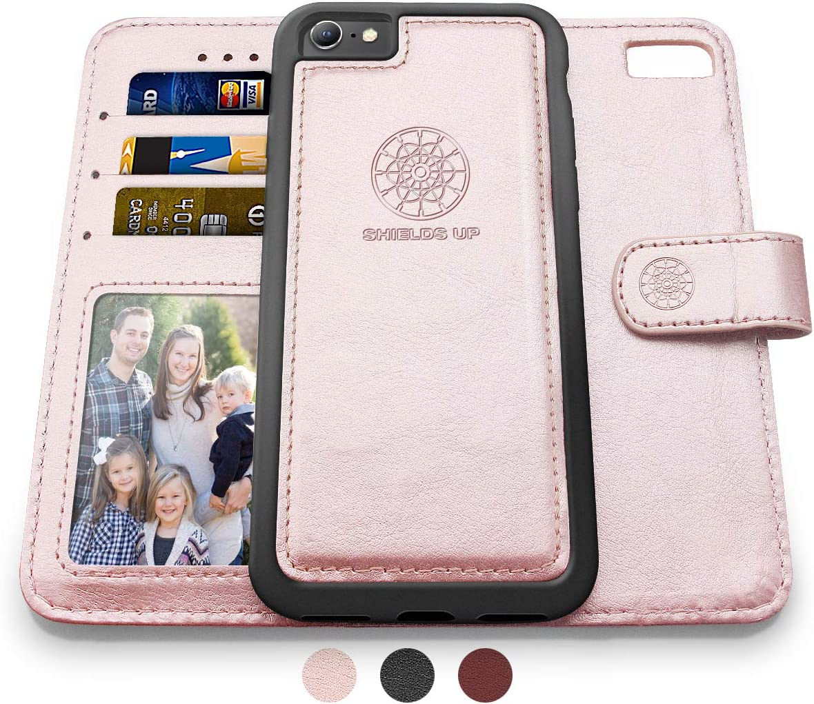 Shields Up iPhone 6S Case/iPhone 6 Case, [Detachable] Magnetic Wallet Case, Durable and Slim, Lightweight with Card Slots, [Vegan Leather] Cover for Apple iPhone 6S/6 (Rose Gold -iPhone 6S / 6)