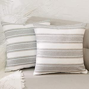"NATUS WEAVER Set of 2, Stripe Pillow Case Soft Linen Decorative Throw Cushion Cover Pillowcase with Hidden Zipper for Sofa 18"" x 18"""