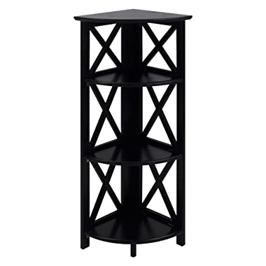 Casual Home 301-12 Montego 3-Shelf Corner Folding Bookcase with Mantel Top, Black