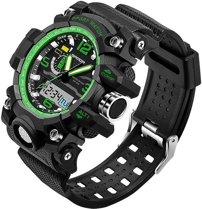 Sanda 5315 Reloj Digital Deportivo para Hombre Oro Militar al Aire Libre cronómetro Alarma Gran Cara Negro
