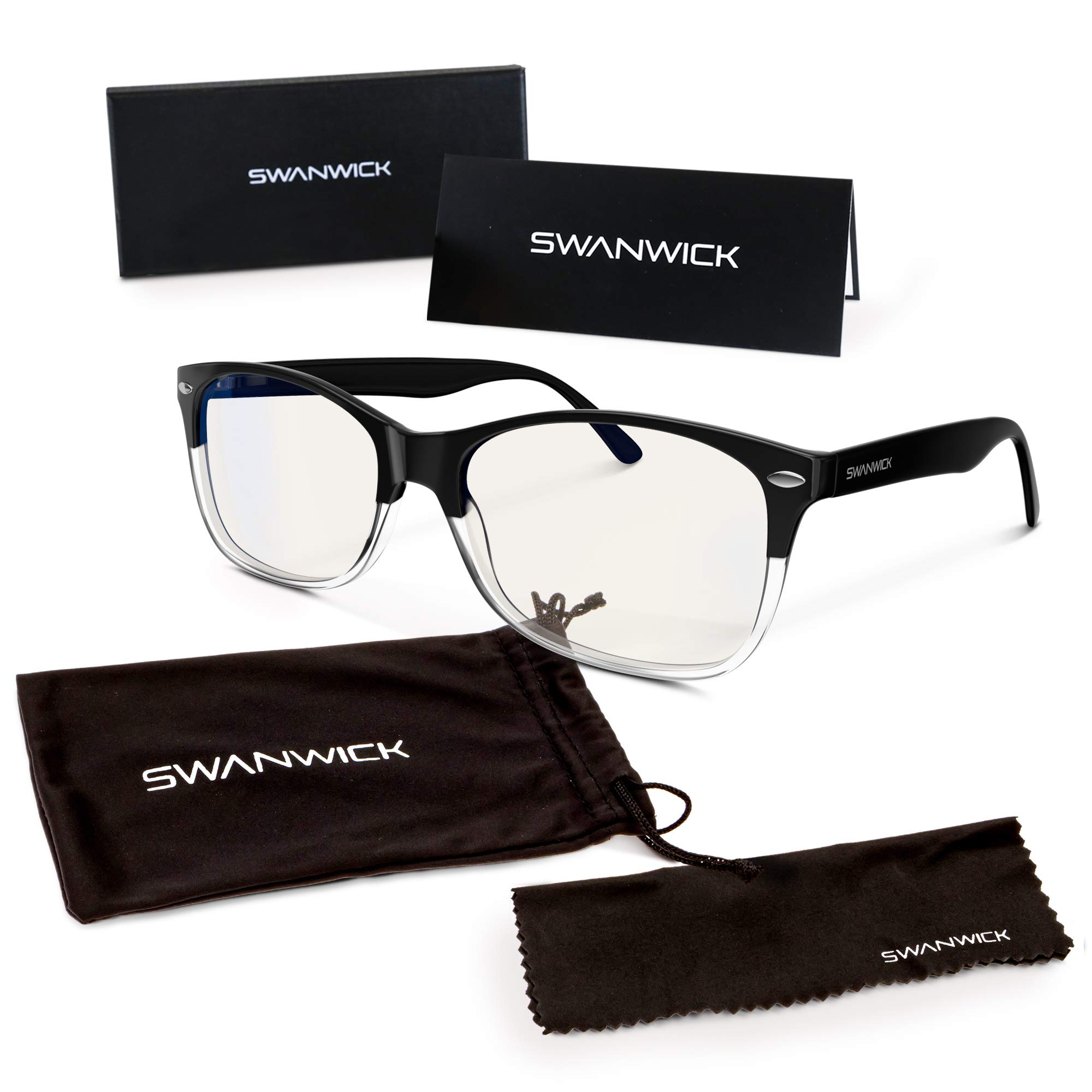 Swannies Premium Daytime Blue Light Blocking Computer Glasses for Gaming, Reading or Work - Dry Eye Relief (Two Tone Black) Regular