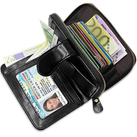 72af2d9b58b0f2 Porta Carte di Credito Pelle Donna BTNEEU RFID Blocco Portafoglio Donna con  Portamonete, Porta Carte