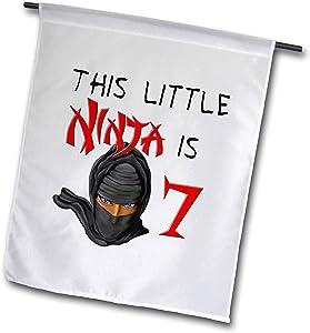 3dRose Macdonald Creative Studios – Birthdays - This Little Ninja is 7 a Great Birthday Ninja Gift for Any Kid Party - 12 x 18 inch Garden Flag (fl_318306_1)