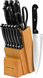 Utopia Kitchen Knife Set with Wooden Block - 13 Pieces - Chef Knife, Bread Knife, Carving Knife, Utility Knife, Paring Knife, Steak Knife, and Scissors - 13 Piece knives with Wooden Block