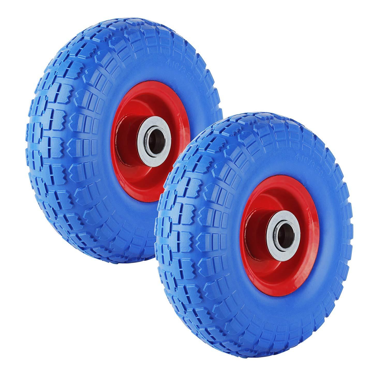 Forever Speed 2X Rueda de goma Neumático de goma maciza Neumático de carretilla, capacidad 80 kg Ø255mm / 3.50-4, ancho neumáticos 74 mm, longitud del buje 75 mm, diámetro eje 25 mm