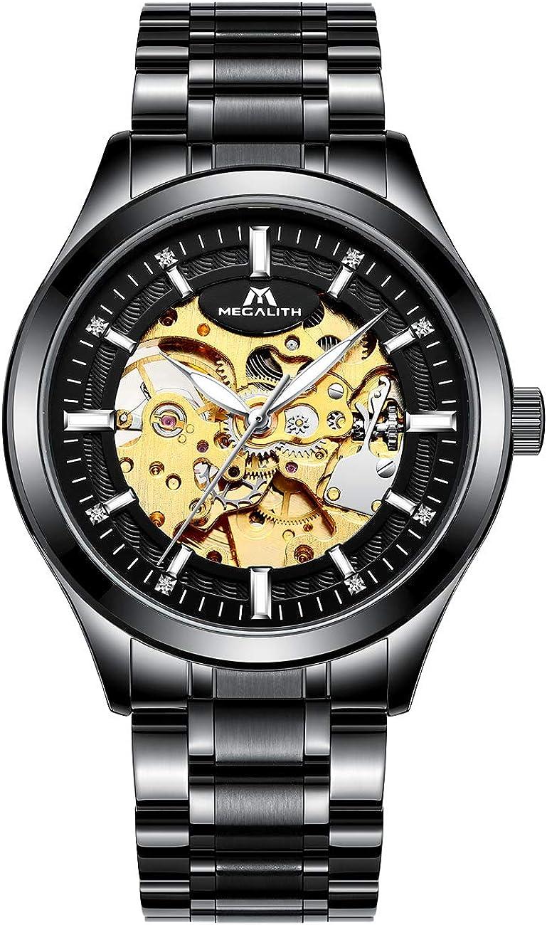 Relojes Hombre Reloj Mecánico Automático Deportes Impermeable Oro Relojes de Pulsera de Acero Inoxidable Negro Luminosos Analógico