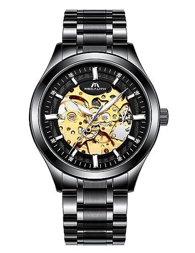 Relojes Hombre Reloj Mecánico Automático Deportes Impermeable Oro Esqueleto Lujo Diseño Relojes de Pulsera de Acero Inoxidable Negro Luminosos Analógico: ...
