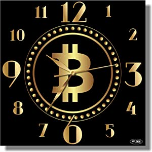 ART TIME PRODUCTION Bitcoin 11'' Handmade Wall Clock - Get Unique décor for Home or Office – Best Gift Ideas for Kids, Friends, Parents and Your Soul Mates