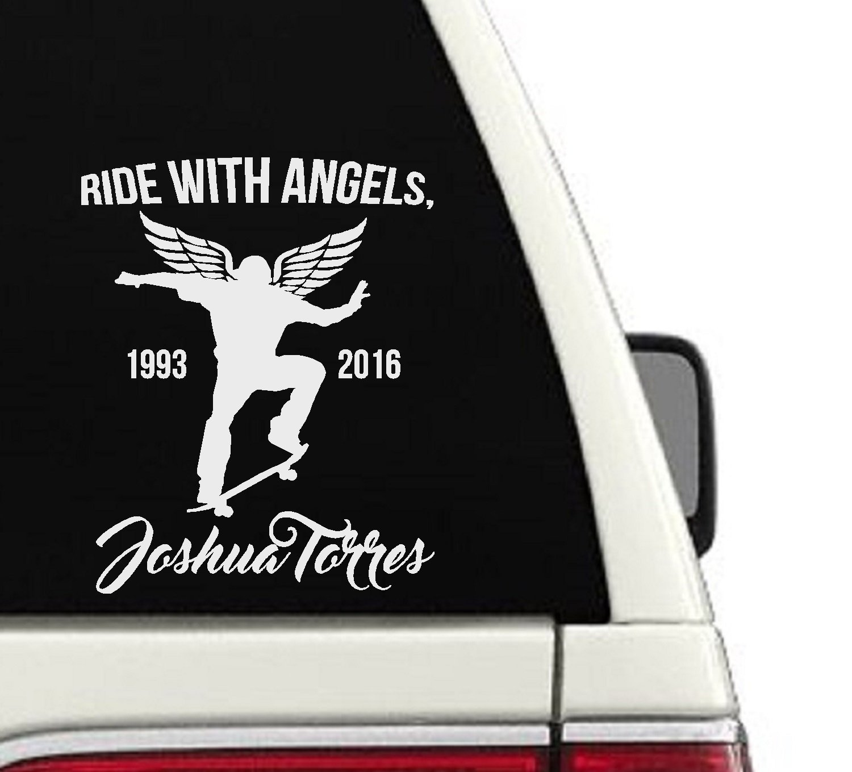 Amazon com ride with angels custom skateboarding memorial car decal 7x9 handmade