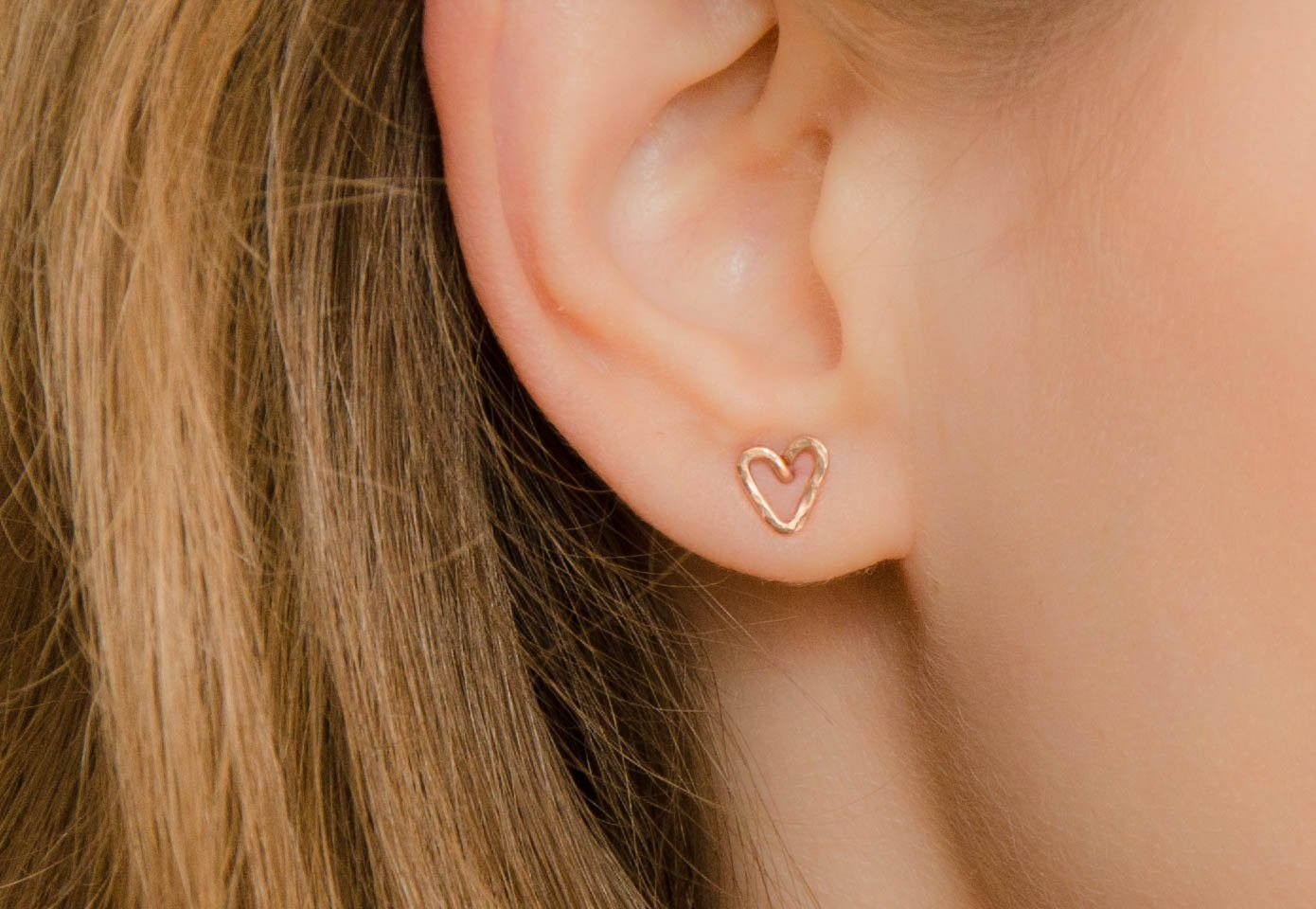 Rose Gold Heart Earrings Tiny Studs Valentines Day Girlfriend Gift