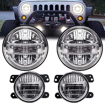 7 Inch Round Chrome LED Headlight Hi//Low Beam For Jeep Wrangler JK LJ TJ