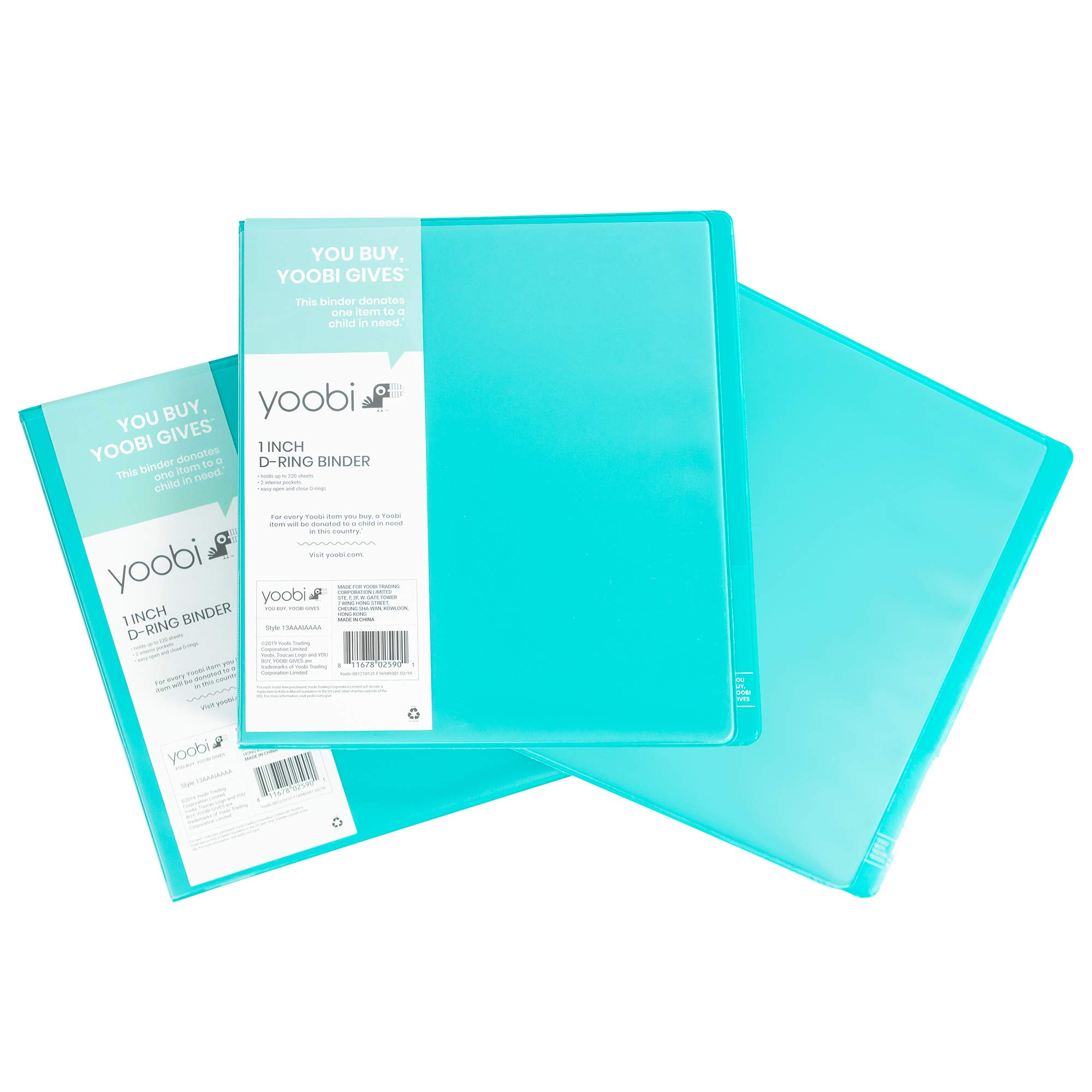 Yoobi 3-Ring Binders | 3-Pack, 1 Inch Size | Aqua | Holds 275 Pages Each, with Pockets for Organization | for School, Home, or Office Use by Yoobi