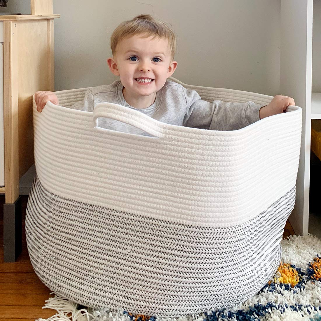 Goodpick Large Basket 23.6''D x 14.2''H | Jumbo Woven Basket | Cotton Rope Basket | Baby Laundry Basket Hamper with Handles for Comforter, Cushions, Quilt, Toy Bins, Brown Stitch