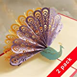 [2 Pack] Nice Quality Pop Up Cards, Wimaha [Chinese Paper Cutting] Desk Cards – Peacock, 15cm x 15cm
