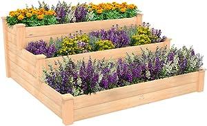 ECOgardener Raised Bed Planter, 4'x4'. Outdoor Wooden Raised Garden Bed Kit for Vegetables, Fruit, Herbs, Flowers and Plants, Tiered Design.