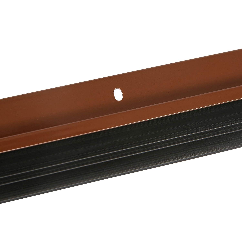 incl montaje con tornillos 100 cm Toolerando Burlete de aluminio para puertas con terminaci/ón en goma//Sellado aislante de aluminio con goma para puertas plateado