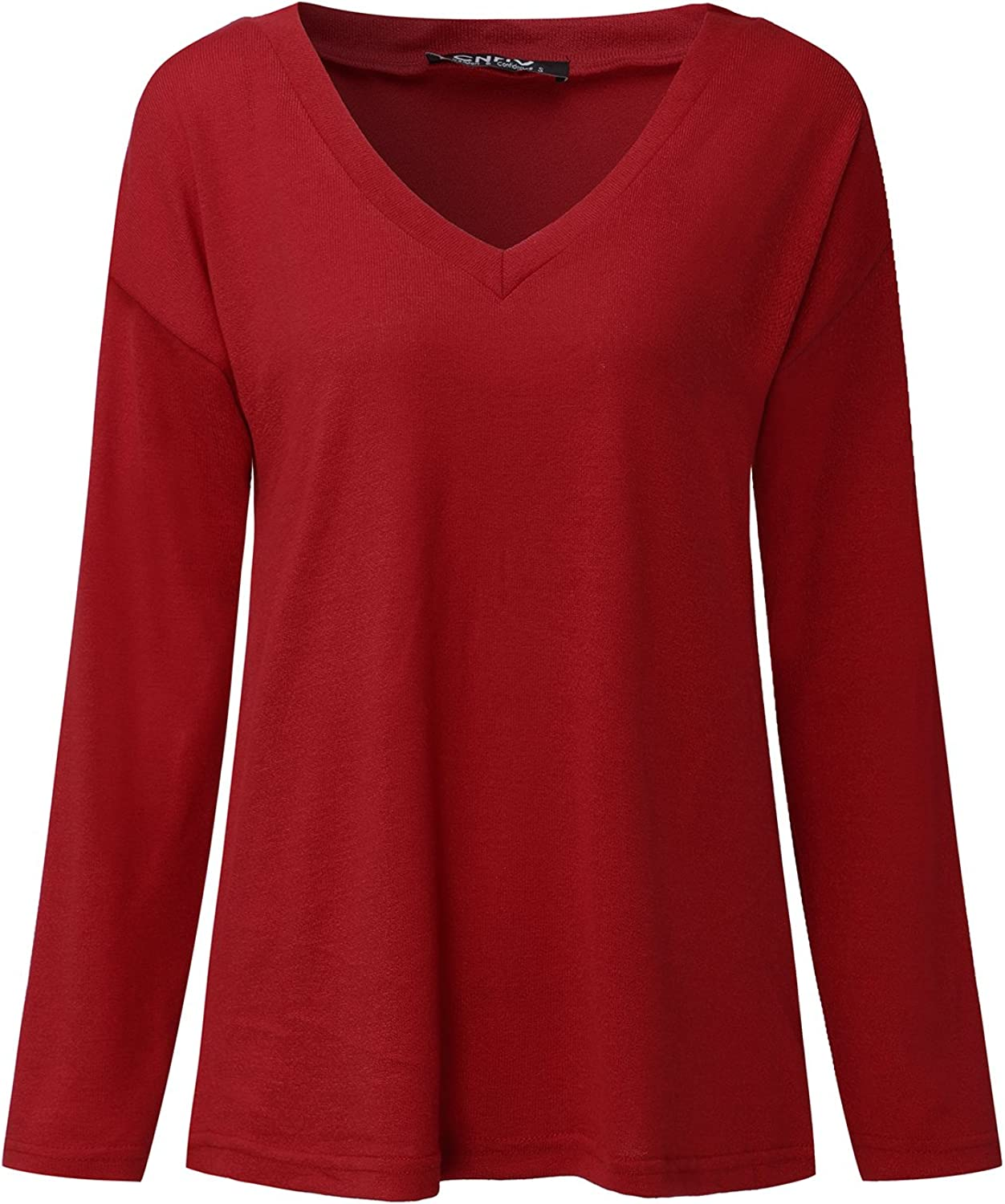 CNFIO Womens T Shirt Casual Short//Long Sleeve Crew Neck Tops Thin Knit Pullover Blouse Tees