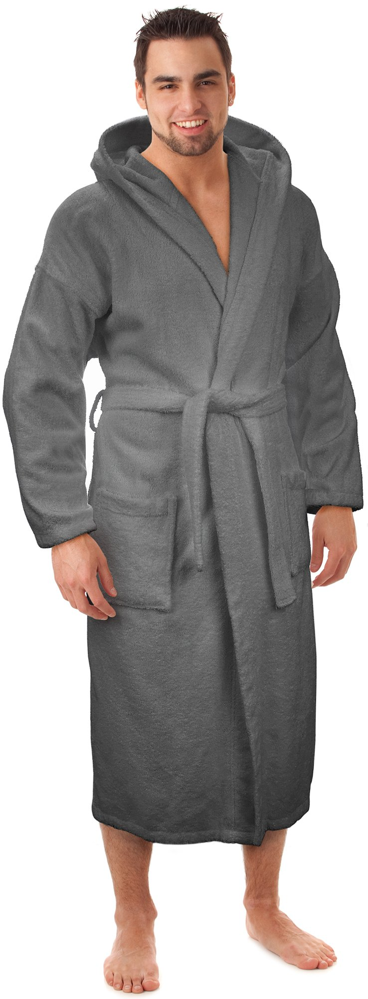 Hooded Terry Bathrobe Made in Turkey, Gray, XX-Large