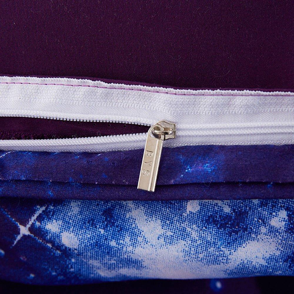 Duvet Cover Set, Star Cosmic Galaxy dark blue, Soft Microfiber Bedding with Zipper Closure(4pcs, King Size) by Cloud Dream (Image #5)