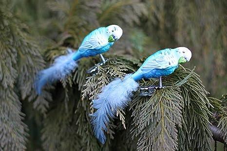 Albero Di Natale Con Decorazioni Blu : Condecoro clip uccello pappagallo pappagallino decorazioni albero