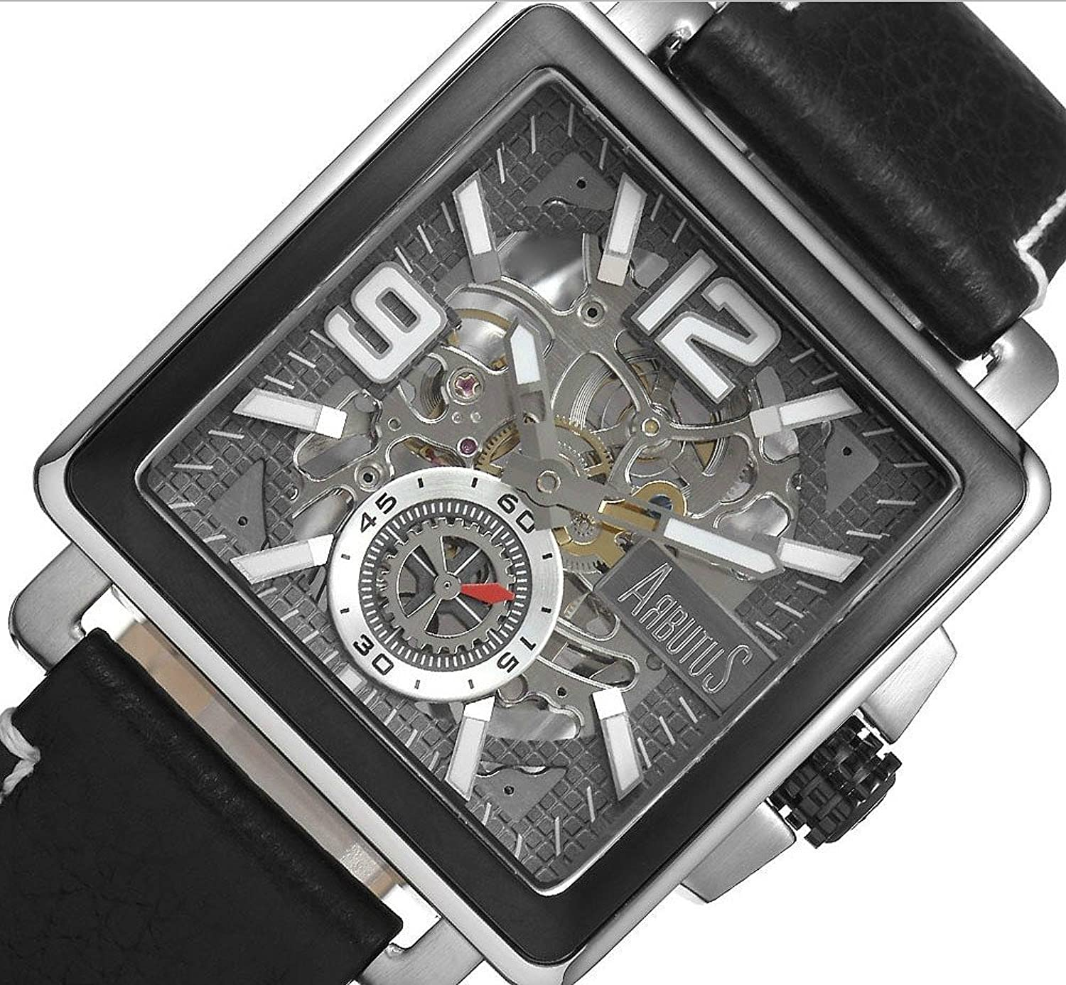 Arbutus New York Gents Hand-Uhr AR710 Skelett Zifferblatt - Lederband schwarz