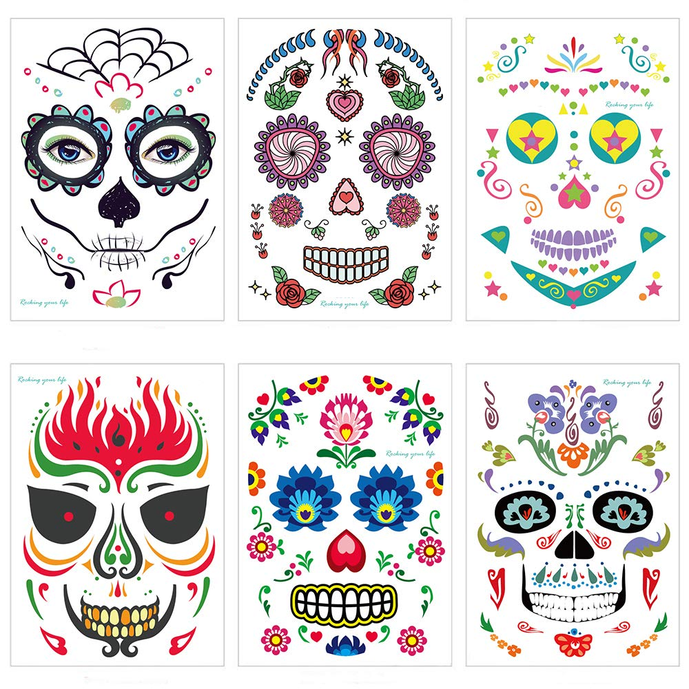 Day of the Dead Sugar Skull Face Temporary Tattoo Halloween Makeup Tattoo Stickers for Halloween Masquerade Party Mexican Fiesta Theme Masquerade and Parties 6 Packs