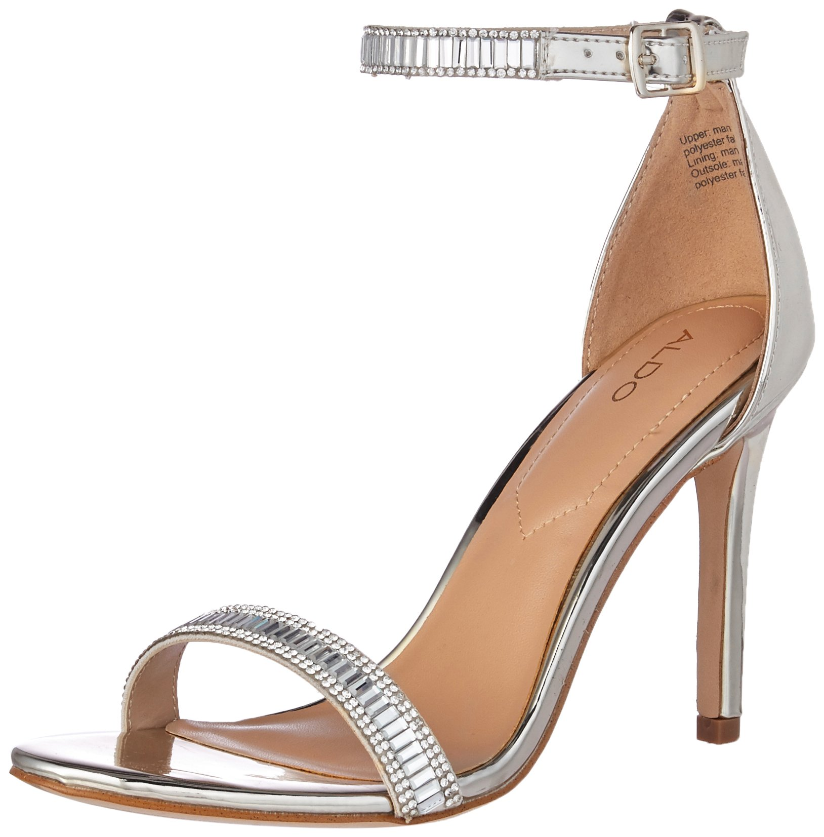 ALDO Women's Sevoredia Dress Sandal, Silver, 7.5 B US