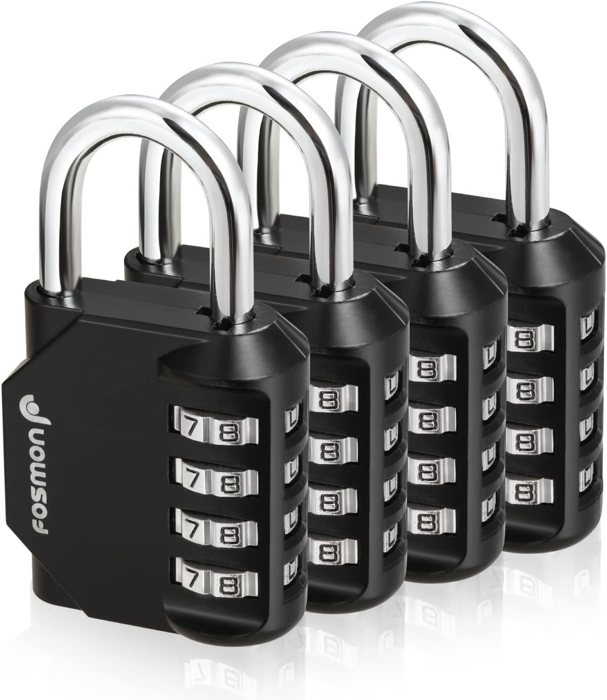 Fosmon Combination Lock, (4 Pack) 4 Digit Multi-Purpose Combination Padlock, Durable (Alloy Body) for Gym, School, Work Locker, Storage Units, Fence, and More