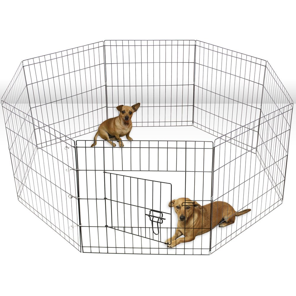 Olymstore 30 Folding Metal Pet Pen,Portable Wire Dog Crate Cage Kennel Exercise Yard Fence,Puppy Rabbit Playpen
