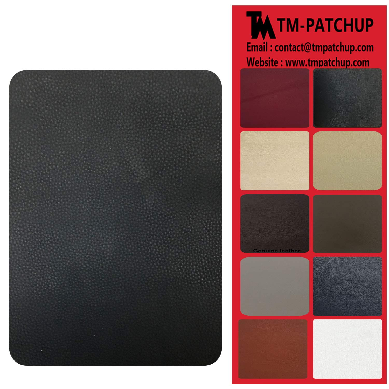 Grey Leather and Vinyl Repair Patch by TMgroup, Genuine Faux Leather Repair Patch, Peel and Stick for Couch, Sofas, car Seats, Hand Bags,Furniture, Jackets, Large Size 3'' x 6'' (2) TMpatchup