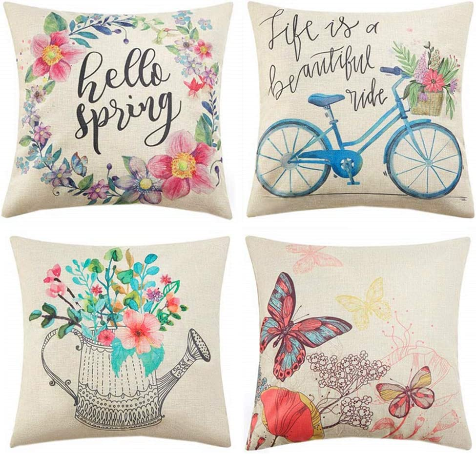 Traney Set of 4 Spring Theme Decorative Pillow Covers 18 x 18 Hello Spring Wreath Bicycle Butterfly Cotton Linen Pillow Cases for Spring Home Décor