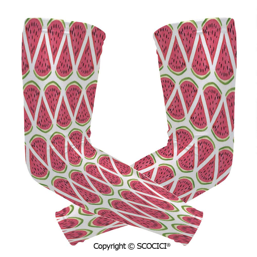 Comfort and Durable Lightweight Arm Guard Sleeve Cute Watermelon Seed Summer Fresh Organic Diet Agricultural Concept Decorative Breathable, Flexible Sleeves Protection by SCOCICI