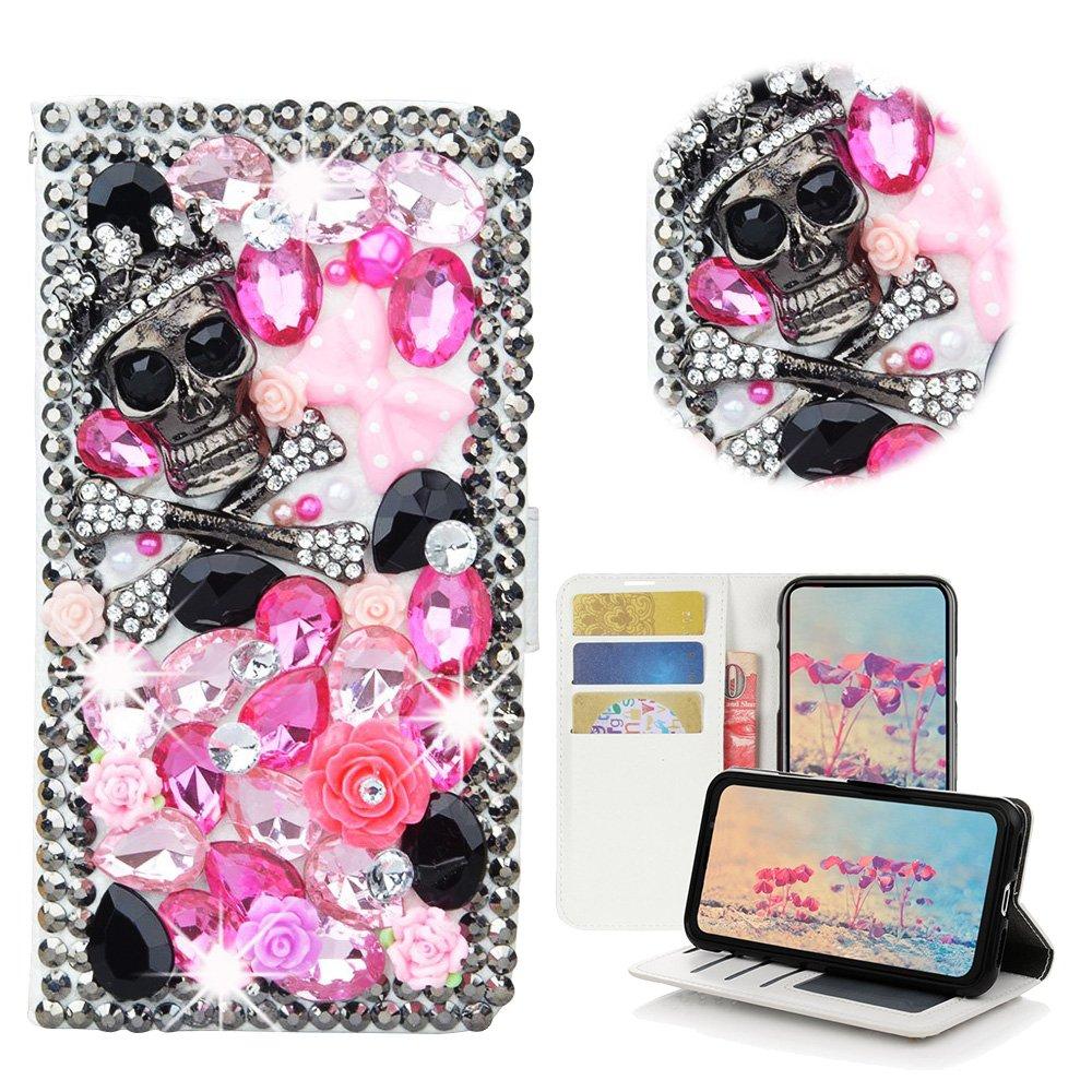 STENES Moto E4 Case - STYLISH - 3D Handmade Bling Crystal Skull Rose Flowers Desgin Wallet Credit Card Slots Fold Media Stand Leather Cover Case - Pink