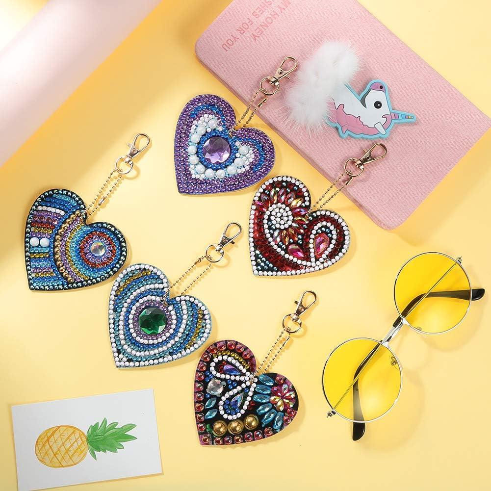 c/œur Amour /& Bears Opopark 9 pi/èces DIY peinture diamant porte-cl/és pendentif 5D DIY kit broderie artisanale d/écoration pour enfants adultes