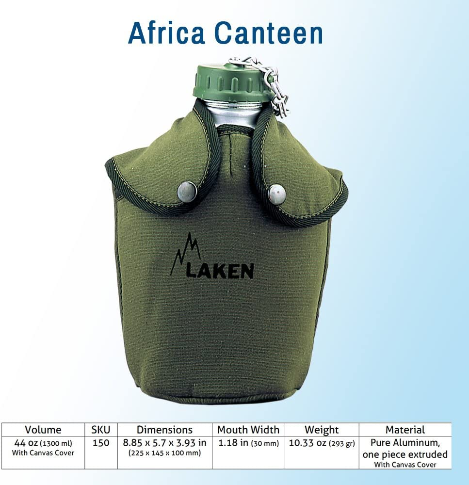 Laken 8412544001450 Cantimplora de Aluminio 1,3L con Funda Verde ...