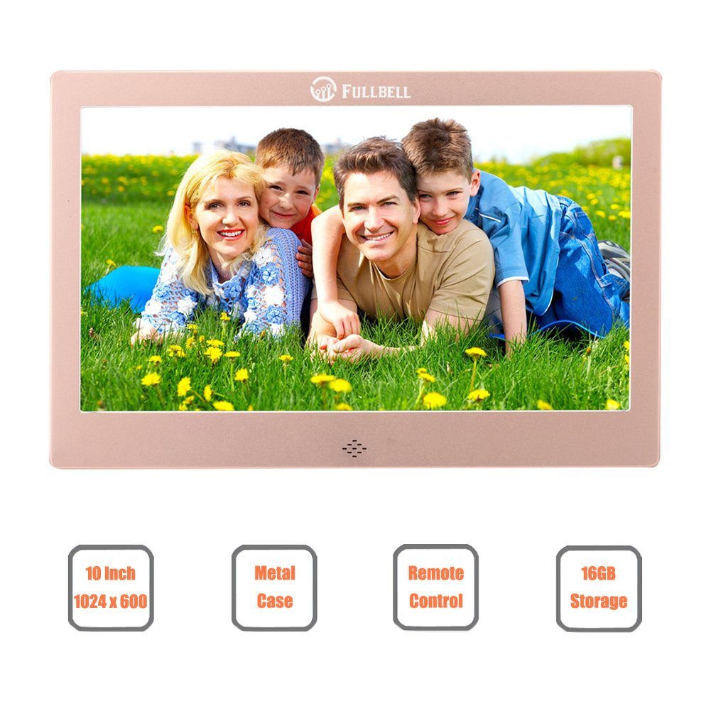 10 Inch Digital Picture Frame, FULLBELL FU-DPF10RG with 1024x600 High Resolution Screen, Metal Case, 16GB Memory and IR Remoter (Rose Gold)