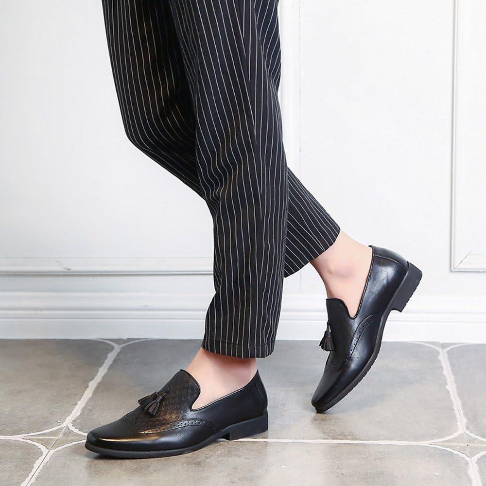 YLY Mens Business Dress Shoes Breathable PU Leather Embellished Tassel Slip-on Oxfords for Gentlemen Breathable