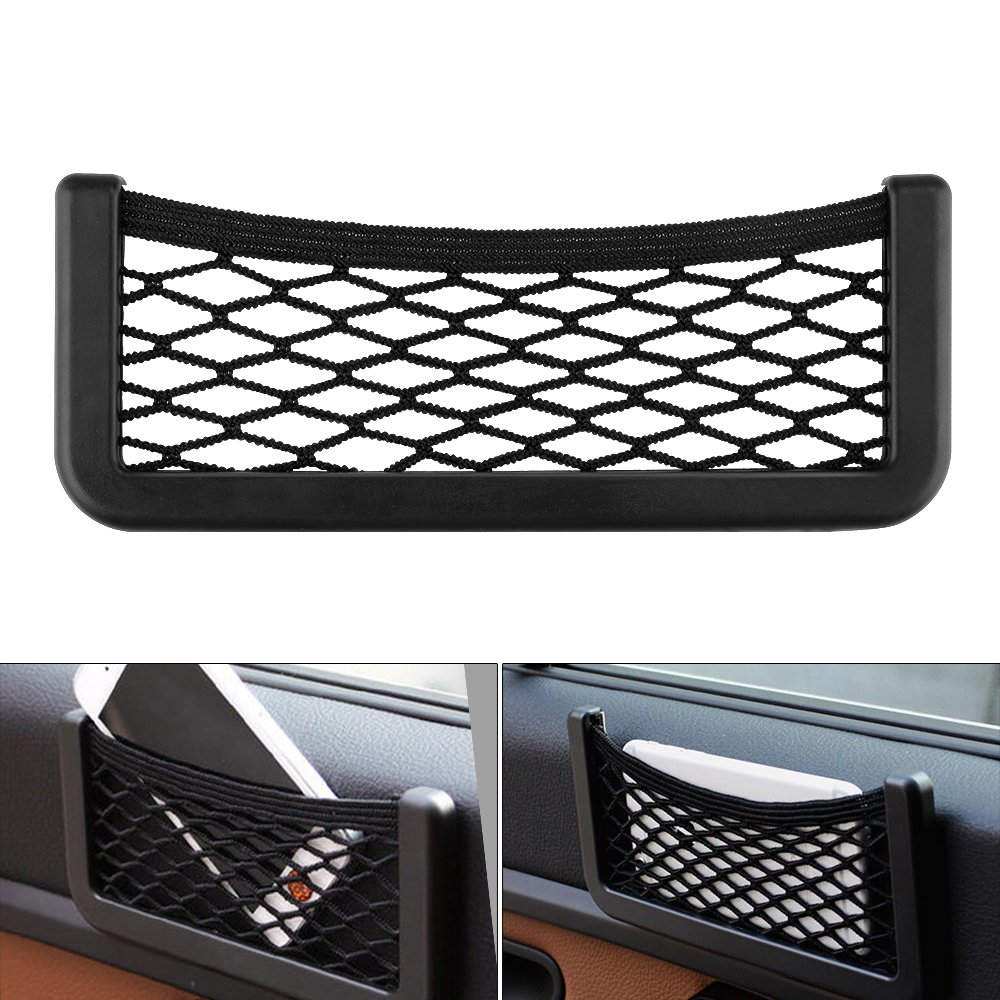 15 * 8cm TiooDre Universal Small Car Seat Side Back Storage Net Bag String Bag Mesh Pocket Organizer Stick-on for Purse Bag Phone