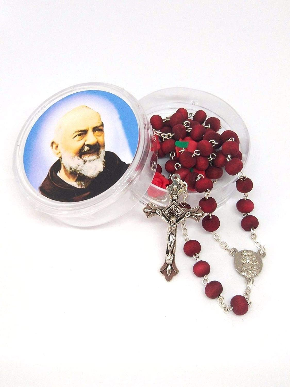 Catholic Gift Shop Ltd Saint PIO Rosary Beads - Rosario con Cuentas perfumadas en Rosa