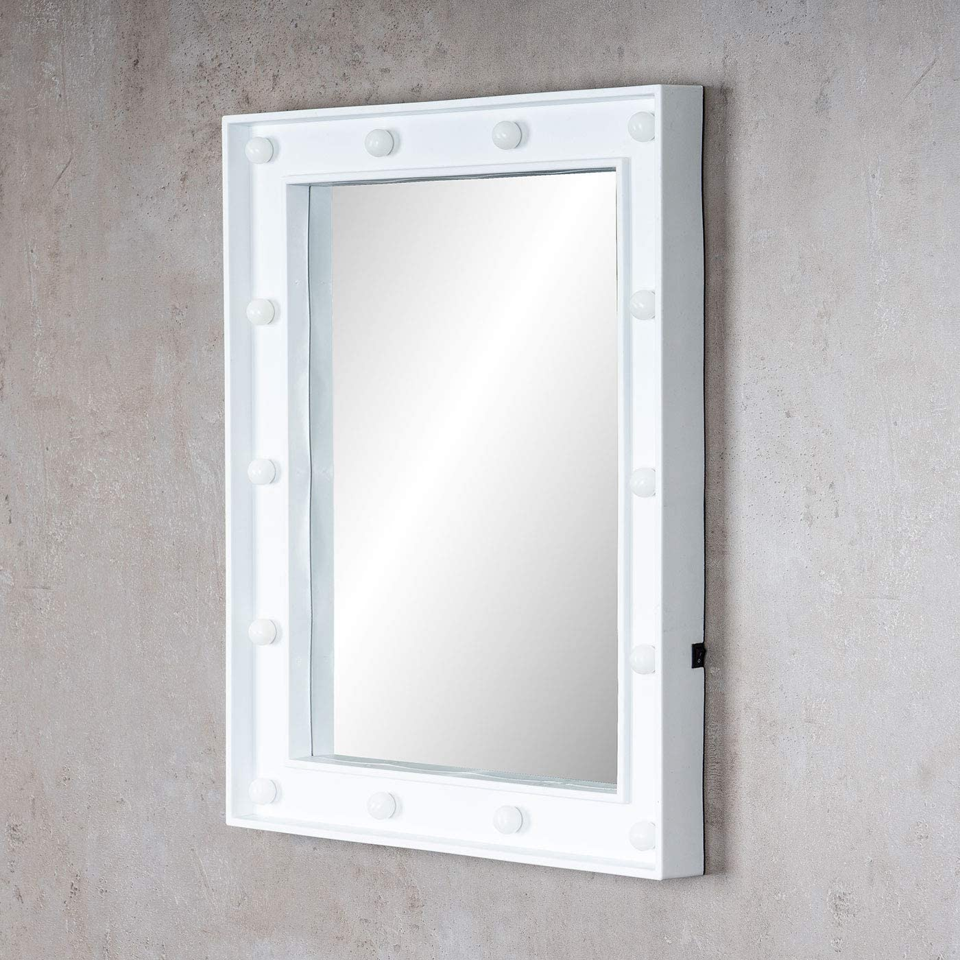 levandeo Wandspiegel LED Spiegel Wei/ß 39x49cm Wanddeko Schminkspiegel mit Beleuchtung Badspiegel Flurspiegel