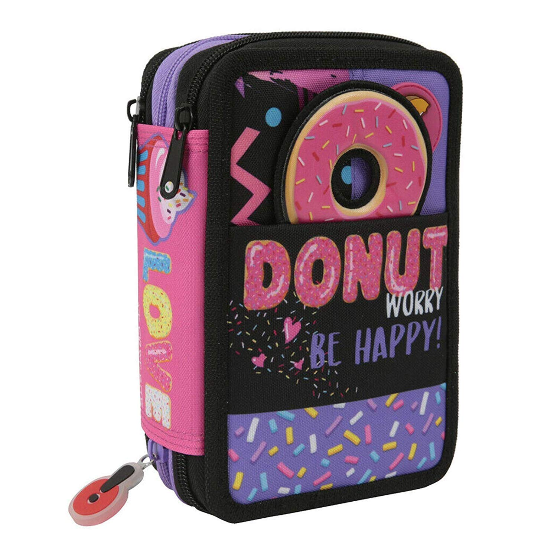 Estuche escolar Go Pop Donut 3 Zip completo bolso + llavero ...