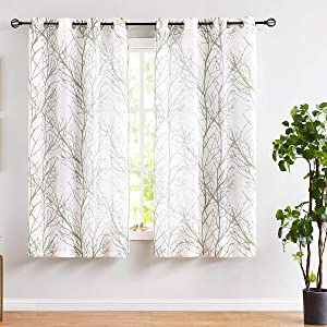 "Fmfunctex Green Sheer White Curtains for Living Room 72"" Length Grey Tree Branches Print Curtain Set Linen Textured Semi-Sheer Window Drapes for Bedroom Grommet Top, 2 Panels"