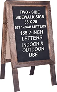 """Large Wooden A-Frame Sidewalk Sign 36""""x20"""" Sandwich Board Double Sided Felt Letter Board Sturdy Display Standing Sidewalk Sign with Changeable Letters, Rustic Message Board for Restaurant, Business"""