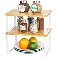 Kitchen Storage and Organizational Shelves, Heavy Duty Bamboo Shelf Storage Organizer Set of 2, Spice Rack Shelf Stand…