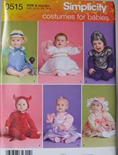 simplicity sewing pattern 0515 costumes for babies size a xs s m l - Baby Halloween Costume Patterns