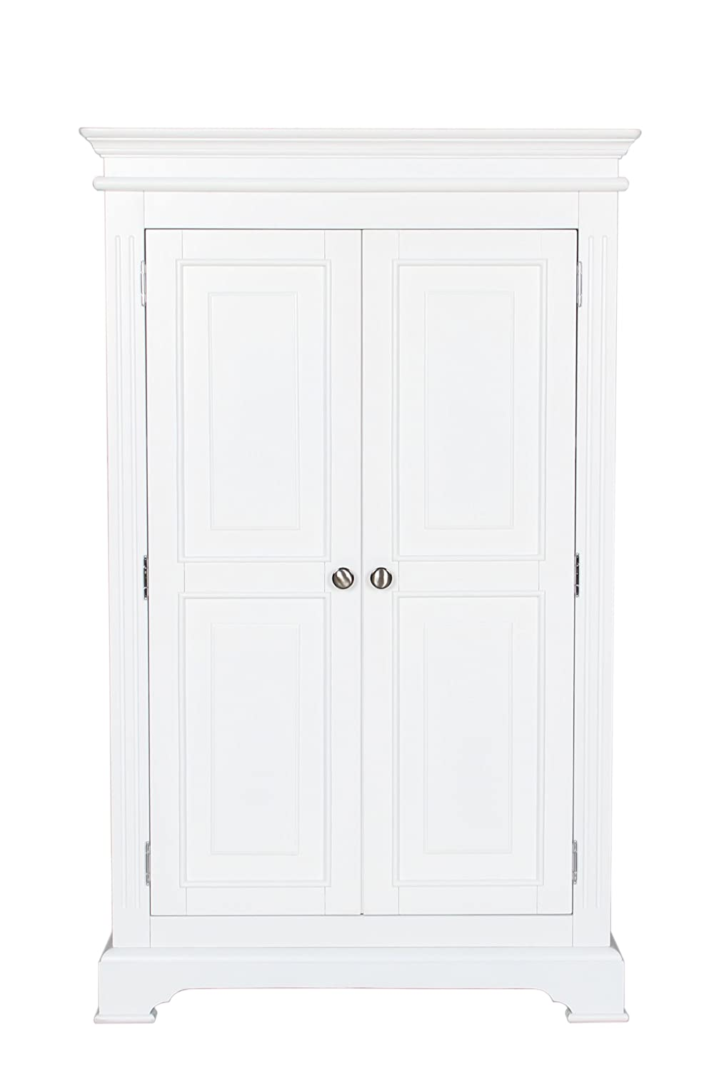 Painted Pine Bedroom Furniture Aspen White Painted Pine Triple Wardrobe With Drawers Amazonco